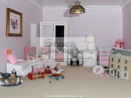 inside doll house child bedroom leisure dolls model hobby pastime miniature georgian nursery derby derbyshire england english angleterre inghilterra inglaterra united kingdom british