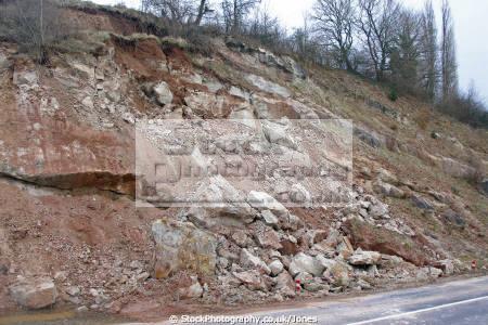 landslip d940 near beaulieu sur dordogne limousin france geology geological science seismic landslide subsidence correze la francia frankreich french