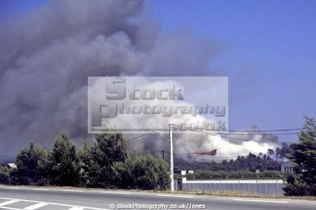 forest provence summer 1990 plane seen dropping chemical retardent trees wooden natural history nature inferno woodland flaming pyromania pyromaniac smoke raging conflagration alpes te azur france la francia frankreich french