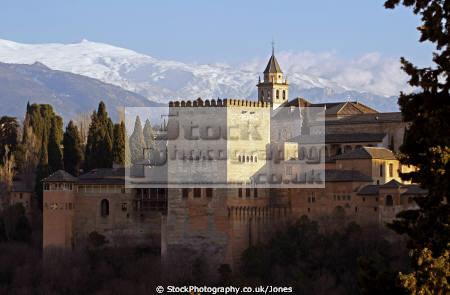 granada spain alhambra sierra nevada mountains mirador san nicolas andalucia spanish espana european andalusia espagne espa fortress palace gardens moorish islamic muslim spanien la spagna