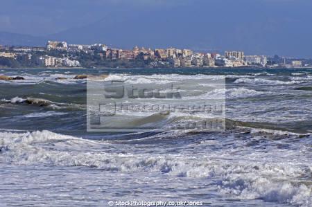 rough sea coast near estepona spain costa del sol mediterranean andalucia spanish espana european espagna andalusia laga malaga beach sandy bay surf breakers tide spanien espa espagne la spagna