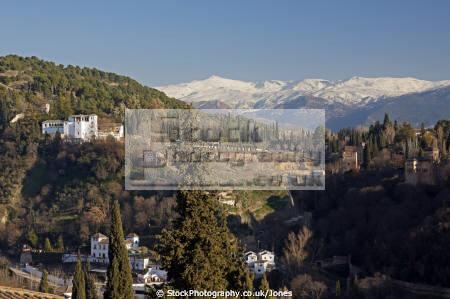 granada spain alhambra palace generalife sierra nevada mountains mirador san nicolas andalucia spanish espana european andalusia espagne espa fortress gardens moorish islamic muslim spanien la spagna