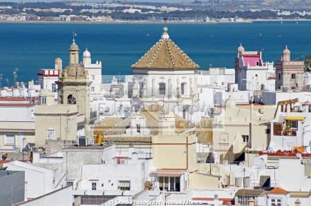 cadiz andalusia spain view city rooftops watchtower torre tavira andalucia spanish espana european diz atlantic espagne espa catedral religion religious catholic spanien la spagna