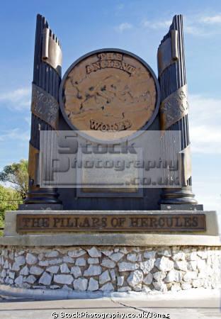gibraltar pillars hercules sculpture uk colonies spain spanish espagna andalusia costa del sol united kingdom britain british heracles rock mediterranean maritime gibraltarian