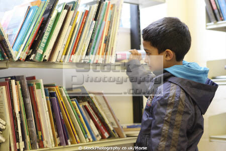 young asian boy looking book bookshelf library multicultural ethnic minority summer child children education learning asians books libraries