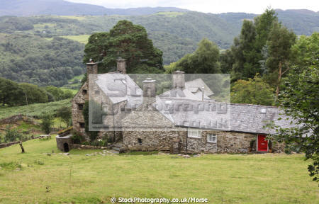 plas ddaullt manor house just campbell platform ffestiniog railway dates 15th century said oliver cromwell stayed campaign royalists north wales historical britain history science historic welsh british mountains building hills stone isolated tourism old gwynedd pa gales united kingdom