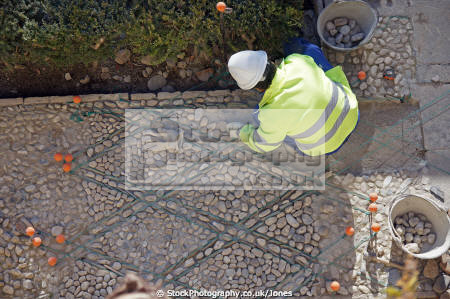 alhambra granada pavement restoration progress near palace generalife trades crafts working andalucia andalusia spain spanish espagne espa fortress gardens moorish islamic muslim artisan craftsman spanien la spagna