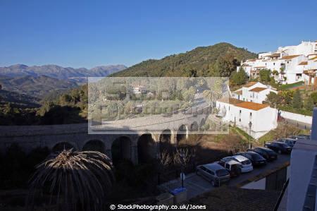 spain bridge el puento pretty pueblo blanco white village gaucin mountains high costa del sol andalucia spanish espana european espagna andalusia estepona laga malaga mediterranean spanien espa espagne la spagna