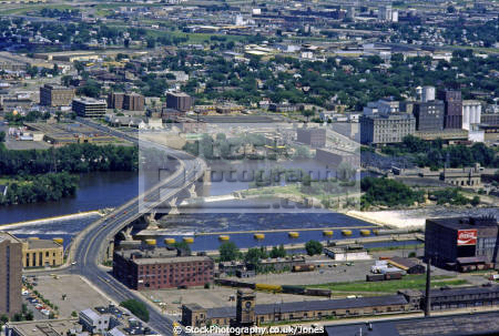 minneapolis mississippi river looking east st paul taken ids tower american yankee bridge weir highway 65 central avenue minnesota united states