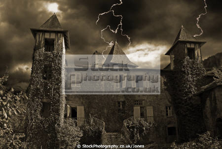 old dilapidated chateau laguenne limousin france given halloween treatment french ch teaus european correze corr ze teau tulle abandoned lightning rundown uninhabited atmospheric ghost ghostly scary spooky foreboding oppressive gloomy stormy twilight hdr monochrome sepia la francia frankreich