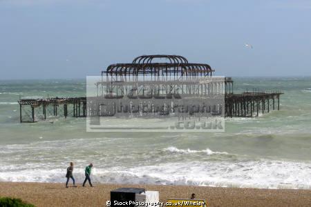 remains west pier brighton british beaches coastal coastline shoreline uk environmental beach sea wind red flag sussex home counties england english angleterre inghilterra inglaterra united kingdom