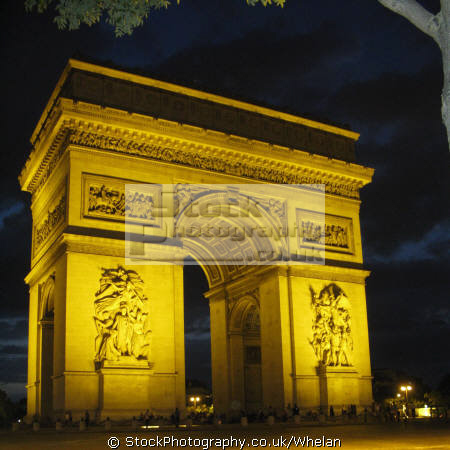 arc triomphe night french buildings european paris parisienne france la francia frankreich