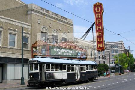 streetcar orpheum theatre memphis transport transportation tram tennessee united states american