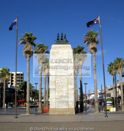 sea glenelg near adelaide monument commemorating pioneer settlers landed spot hindmarsh 1836 marine pioneers australia australian