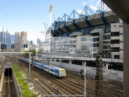 electric multiple unit melbourne cricket ground background trains railways rail railroads transport transportation victoria australia australian