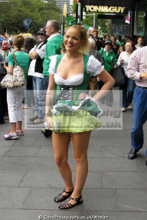 young woman saint patrick day parade sydney women female females feminine womanlike womanly womanish effeminate ladylike irish australia australian