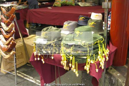 australian hats sale victoria market melbourne tourist souvenir stall australia