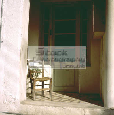 chair doorway greek european travel seat mykonos island dodcanese islands greece europe