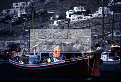 greek fishing boat leaving harbour european travel mykonos greece goodbye island dodcanese islands europe