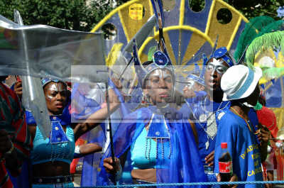 blue costumes notting hill carnival london events capital england english uk black culture street colour color parade celebrate afro carribean party women kensington chelsea cockney angleterre inghilterra inglaterra united kingdom british