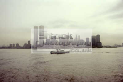 manhattan new york foggy day 1979 american yankee travel world trade centre center tugboat big apple usa united states america