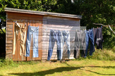 jeans washing line garden shed british sheds unusual buildings strange wierd uk devon devonian england english angleterre inghilterra inglaterra united kingdom
