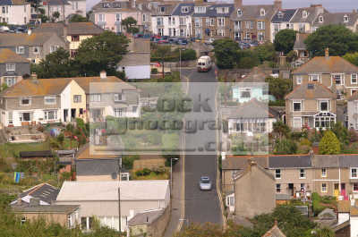 st ives aerial view road hillside south west england southwest country english uk hilly cornish cornwall angleterre inghilterra inglaterra united kingdom british