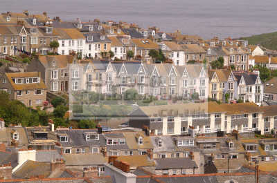 st ives aerial view houses south west england southwest country english uk rooves rooftops cornish cornwall angleterre inghilterra inglaterra united kingdom british