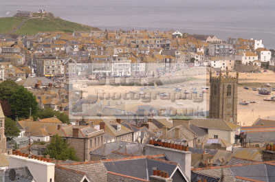 st ives aerial view church harbour south west england southwest country english uk cornish cornwall angleterre inghilterra inglaterra united kingdom british